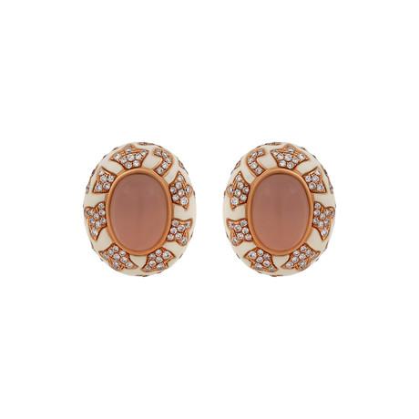 Nouvelle Bague 18k Rose Gold Diamond + Quartz + White Enamel Earrings