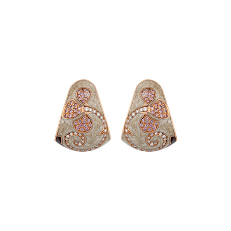 Nouvelle Bague Petali 18k Rose Gold Diamond + Sapphire + Tan Enamel Huggie Earrings