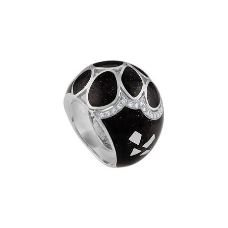 Nouvelle Bague Petali 18k White Gold Diamond + Black Enamel Ring // Ring Size: 7