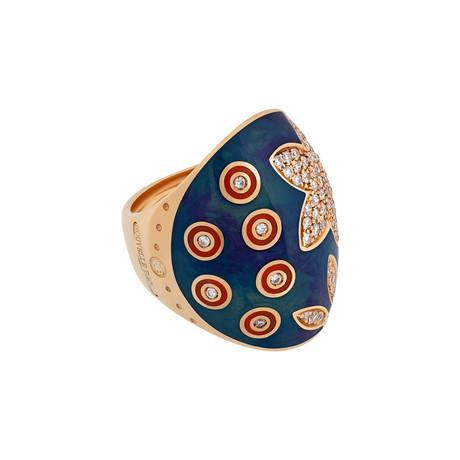 Nouvelle Bague India Preziosa 18k Rose Gold Diamond + Teal Blue Enamel Ring // Ring Size: 7