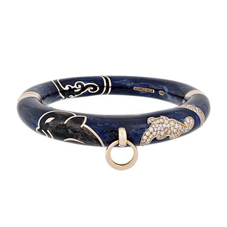 Nouvelle Bague Kenya 18k Rose Gold Diamond + Navy Blue Enamel Bangle Bracelet