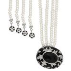 Nouvelle Bague Foglie d'Acanto 18k White Gold Diamond + Onyx Pearl + Black Enamel Necklace