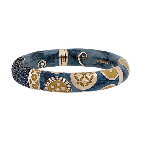 Nouvelle Bague Hammam della Rosa 18k Rose Gold Diamond + Blue Sapphire + Blue Enamel Bangle Bracelet