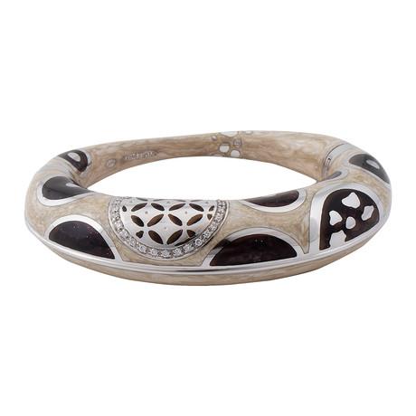 Nouvelle Bague Hammam della Rosa 18k White Gold Diamond + Enamel Bangle Bracelet