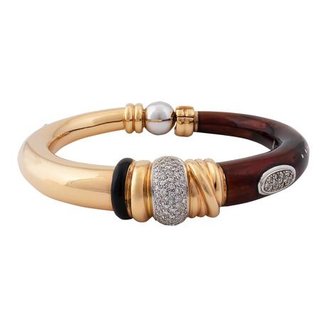 Nouvelle Bague Kenya 18k Two-Tone Gold Diamond + Red Enamel Bangle Bracelet