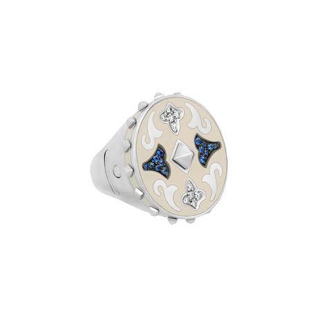 Nouvelle Bague 18k Two-Tone Gold Diamond + White Enamel Ring // Ring Size: 6.75