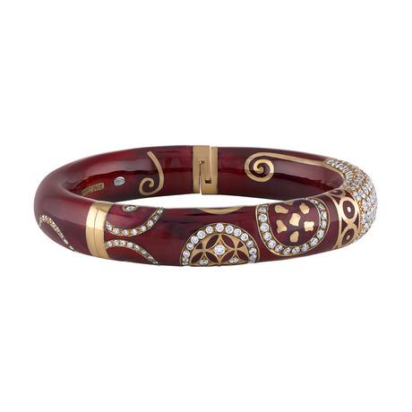 Nouvelle Bague Hammam della Rosa 18k Rose Gold Diamond + Maroon Red Enamel Bangle Bracelet