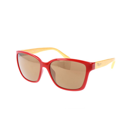 Women's SF716S Sunglasses // Red + Yellow Wood