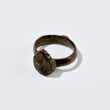 Byzantine Bronze Floral-Cross Ring // 9th-12th Century