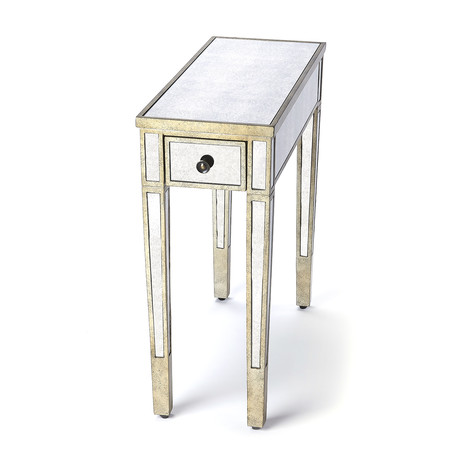 Piotr Mirrored Chairside Table