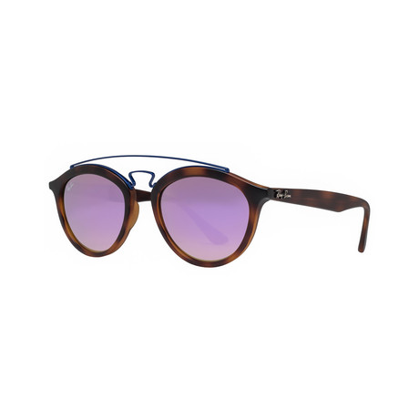 Ray-Ban // RB4257 Gatsby II Round Sunglasses // Matte Tortoise Brown + Lilac Mirror