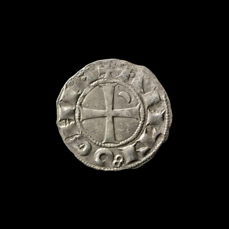 Crusader Coin, 1162 - 1201 AD // King in Chain Maille // Crusader Cross