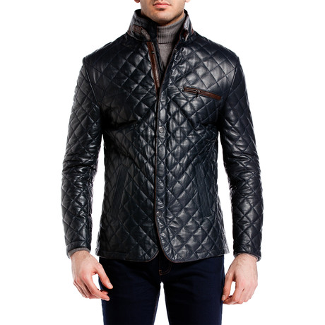 Quilted Leather Jacket // Navy Blue (XS)