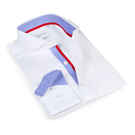 Slim Fit Button-Up Shirt // White + Blue (S)