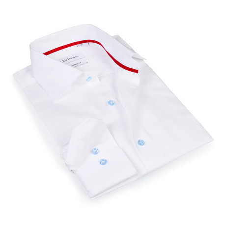 Solomon Button-Up Shirt // White + Light Blue (S)