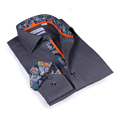 Slim Fit Patterned Button-Up Shirt // Charcoal (S)