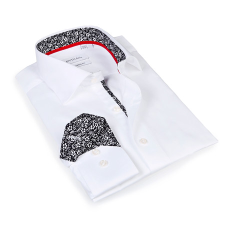 Quinton Floral Print Button-Up Shirt // White (S)