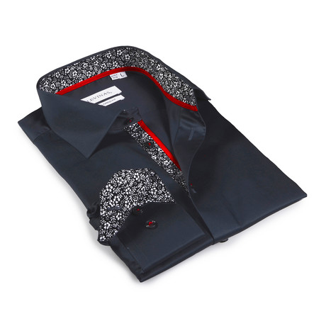Braedon Floral Print Button-Up Shirt // Charcoal (S)