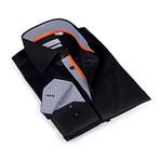 Button-Up Shirt // Solid Black (L)