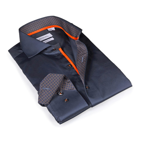Yair Printed Button-Up Shirt // Charcoal (S)