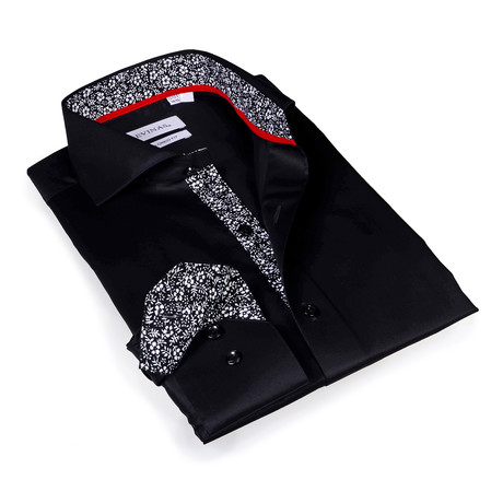 Slim Fit Printed Button-Up Shirt // Solid Black (S)
