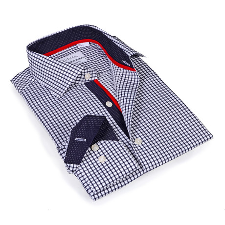 Zaire Checkered Button-Up Shirt // Navy (S)