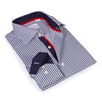 Checkered Button-Up Shirt // Navy (M)