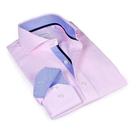 Slim Fit Button-Up Shirt // Pink + Blue (S)