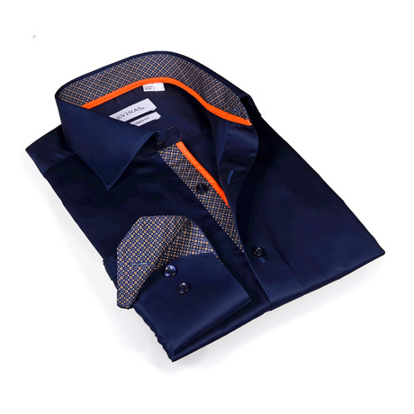 Preston Button-Up Shirt // Solid Navy (S)