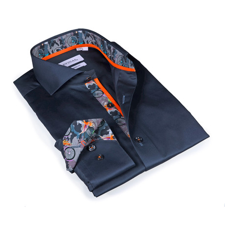 Cullen Bicycle Print Button-Up Shirt // Solid Charcoal (S)