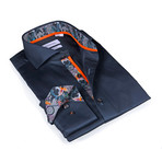 Bicycle Print Button-Up Shirt // Solid Charcoal (M)