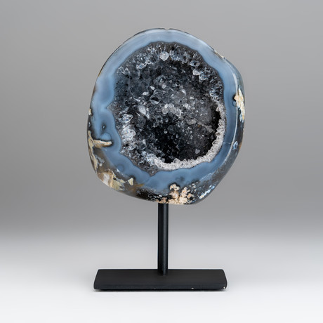 Banded Agate Geode + Metal Stand