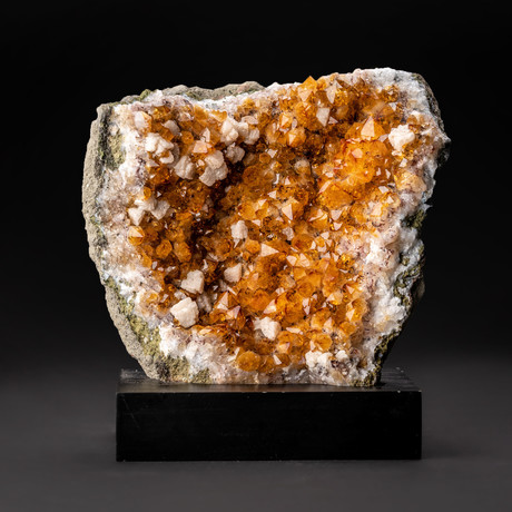 Citrine Crystal Cluster // Calcite + Wooden Stand