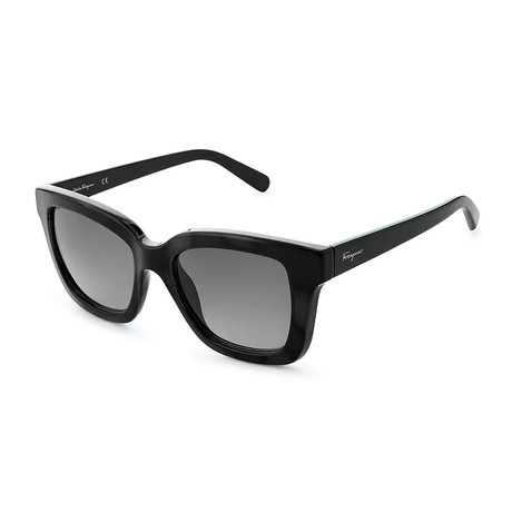 Ferragamo // Women's Thick Square Sunglasses // Black + Gray Gradient