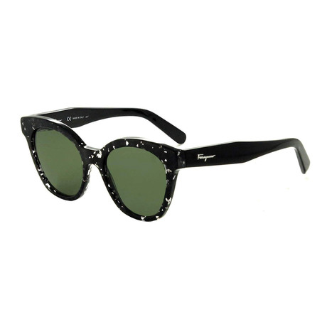 Ferragamo // Women's Square Cat-Eye Sunglasses // Black Havana + Gray