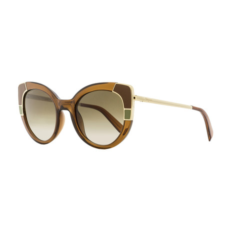 Ferragamo // Women's Round Cat-Eye Sunglasses // Brown + Gray