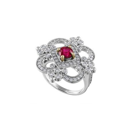 Tresorra 18k White Gold Diamond + Ruby Ring // Ring Size: 6.25 // Pre-Owned