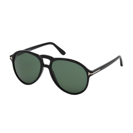 Men's Lennon Sunglasses // Shiny Black + Green