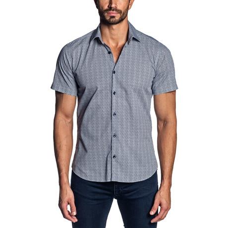Print Short Sleeve Button-Up Shirt // White + Navy (S)