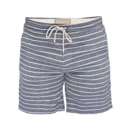 Steve Waffle Weave Pull On Short // Blue + White Stripe (XS)