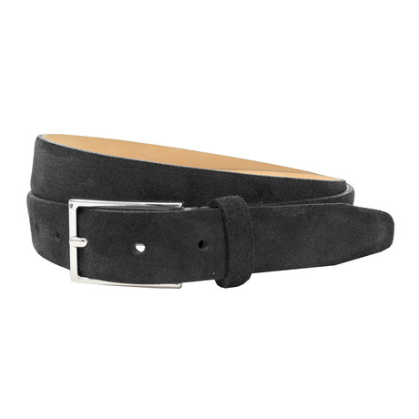 "Stratton Italian Suede Belt // Black (32"")"