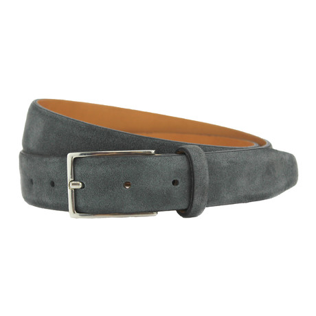 "Stratton Italian Suede Belt // Gray (32"")"