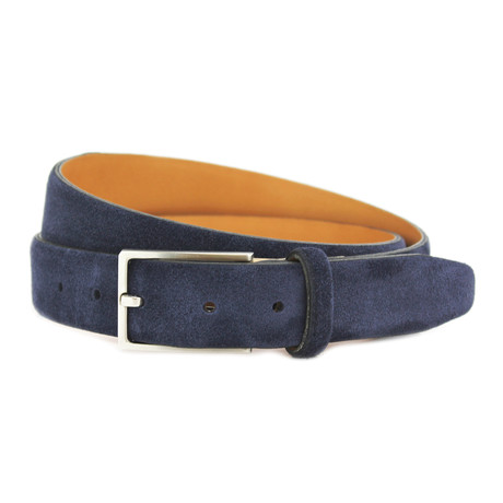 "Stratton Italian Suede Belt // Navy (32"")"