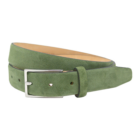 "Stratton Italian Suede Belt // Green (32"")"