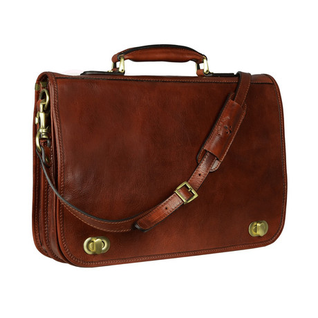 Illusions // Leather Briefcase // Dark Brown