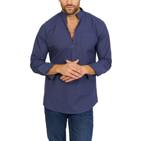 Dominic Long Sleeve Shirt // Navy (Large)