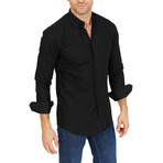 Aaron Long Sleeve Button-Up Shirt // Black (Large)