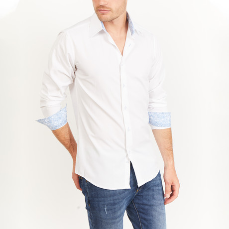 Jonathan Long Sleeve Button-Up Shirt // Pearl White (Medium)