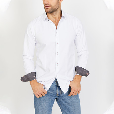 Bryson Long Sleeve Button-Up Shirt // Creamy White (Large)
