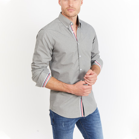 Eli Long Sleeve Button-Up Shirt // Slate Gray (Large)